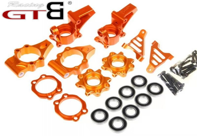 CNC Alloy Front Rear Wheel Hub Carrier Kit for HPI KM Rovan Baja 5B 5T SS 5SC
